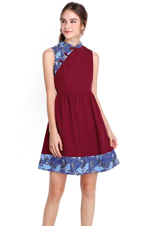 Season Of Blessings Cheongsam Dress In Wine Red