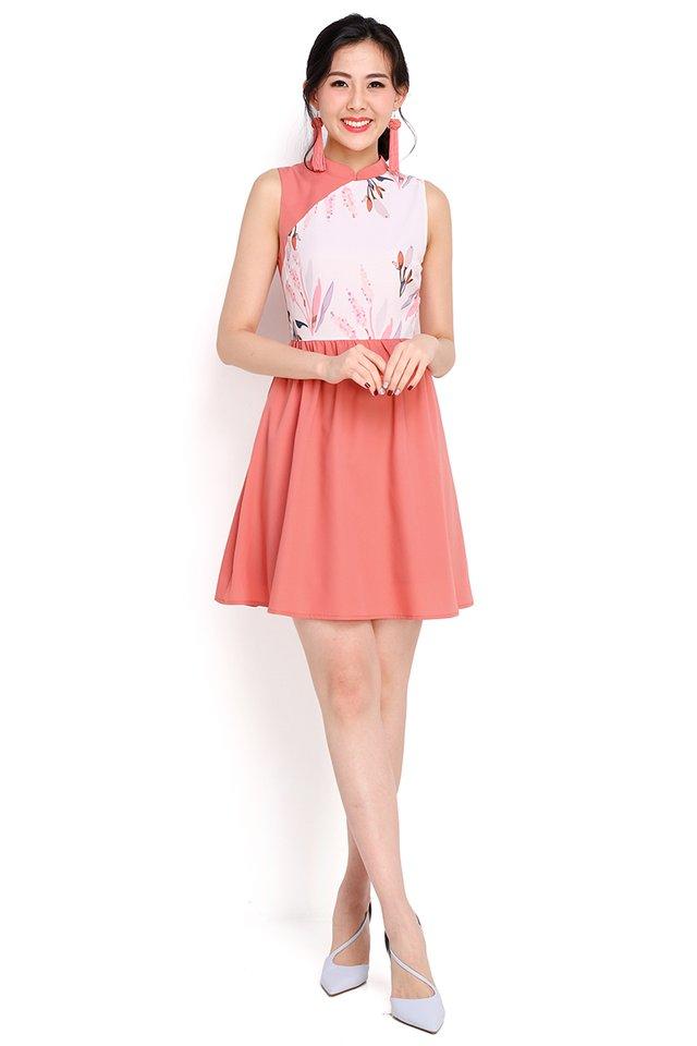 Budding Romance Cheongsam Dress In Apricot Rose