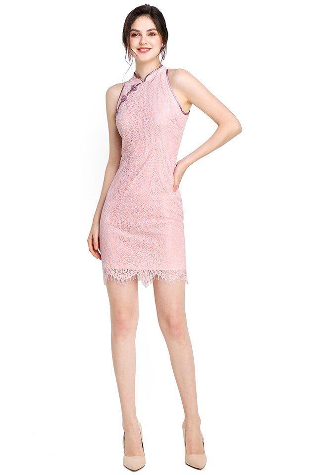 Springtime Romance Cheongsam Dress In Lilac