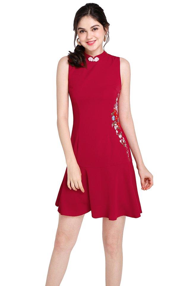 Cascading Blossoms Cheongsam Dress In Festive Red