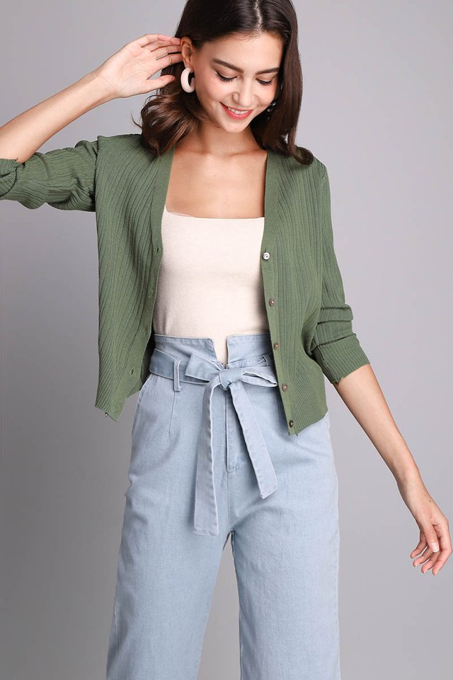 Kennedy Cardigan In Olive Green