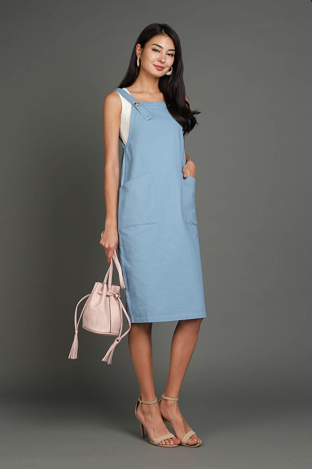 Adventures Of Huckleberry Dress In Muted Blue