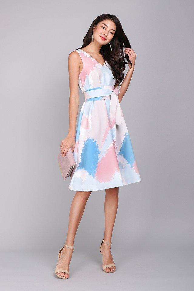 Garden Symphony Dress In Pastel Prints