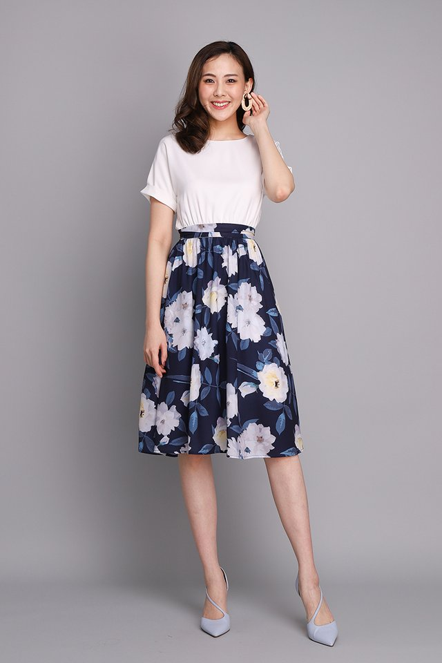 Pardon My French Dress In Navy Florals