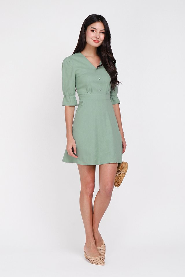 Just My Type Dress In Sage Green