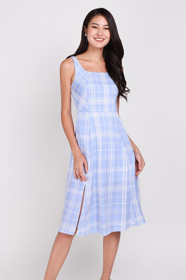 Playtime Dress In Sky Plaid