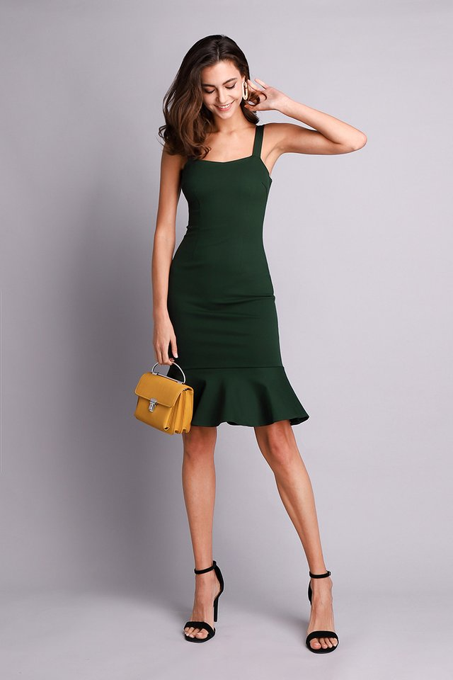 Flattering Curves Dress In Forest Green