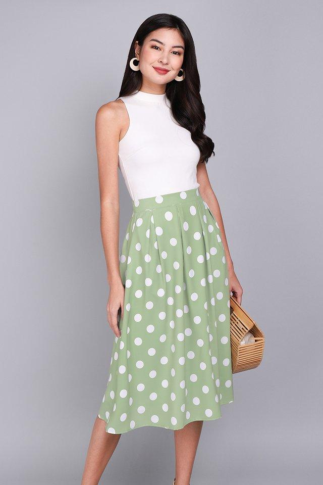 Paris Swing Skirt In Sage Dots