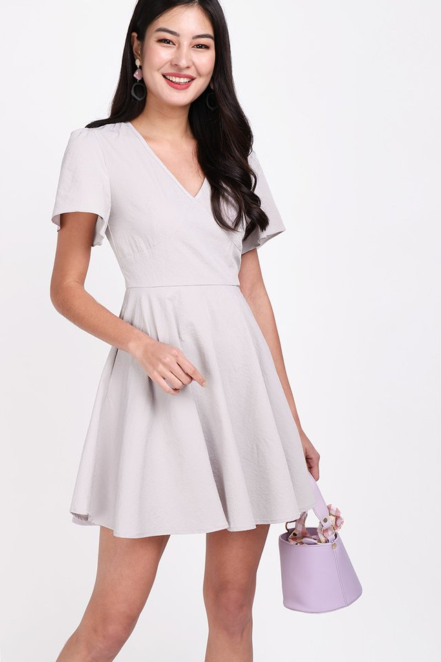 Holiday Spirits Dress In Taupe Grey