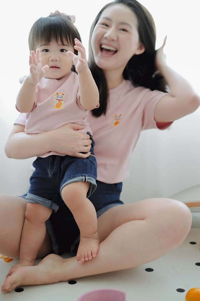 Fortune Cat Kids Top In Dusty Pink
