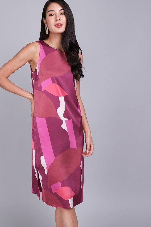 Dramatic Flair Dress In Fuchsia Prints