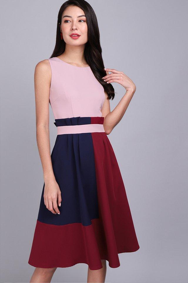 Architectural Ardour Dress In Pink Wine
