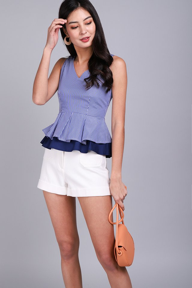 Girl About Town Top In Navy Stripes