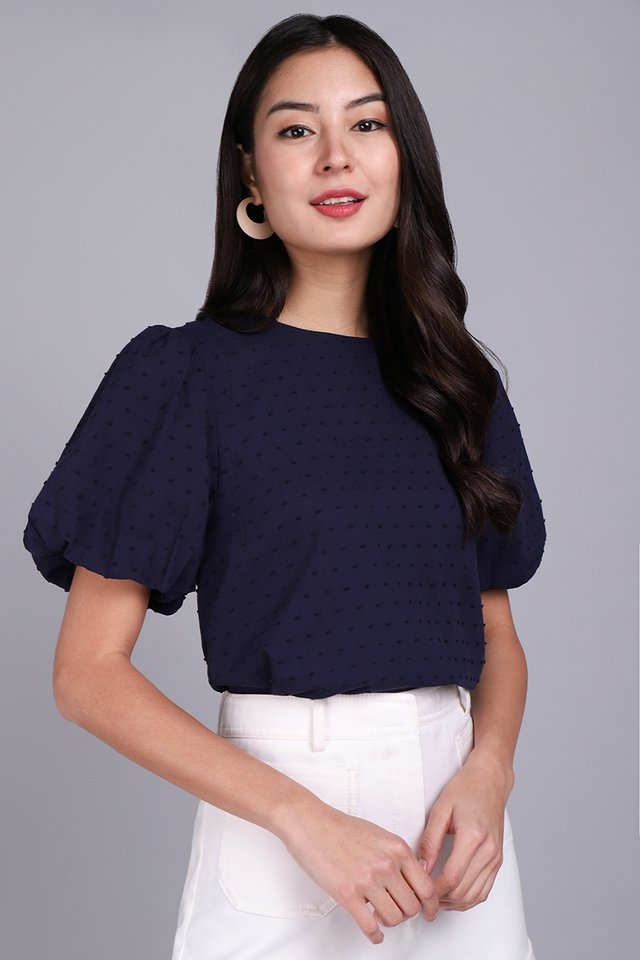 Maia Top In Navy Blue