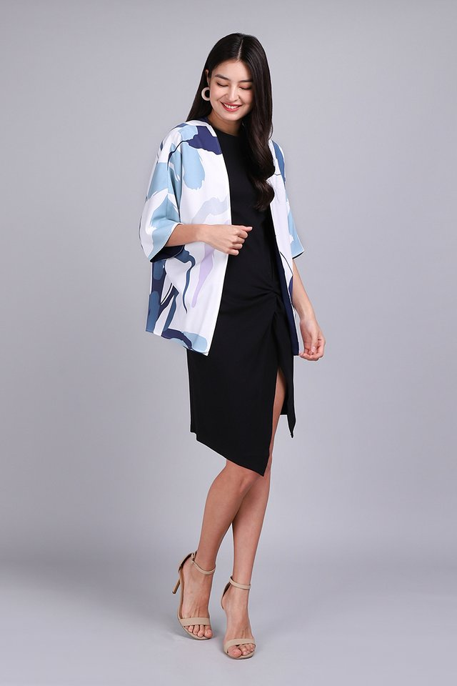 Creative Doodles Kimono In Blue Prints