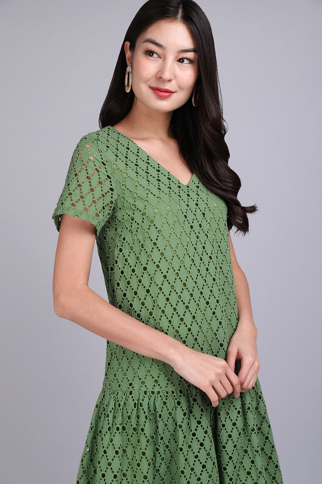 Always On My Mind Dress In Green Eyelet