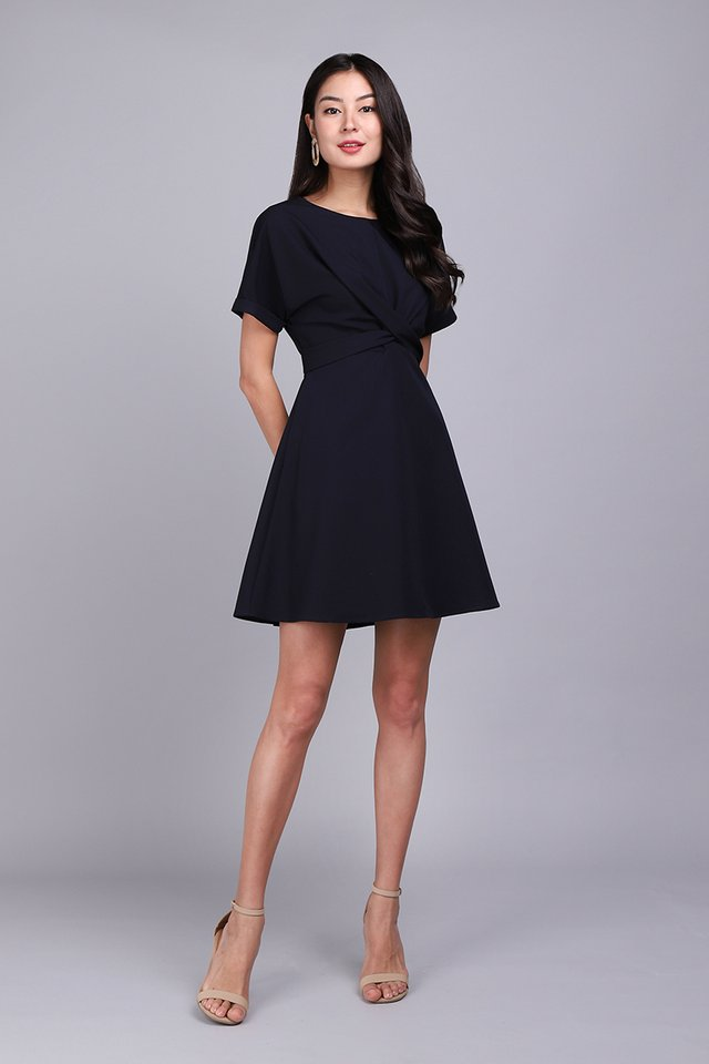 Twist Of Charm Dress In Dark Navy