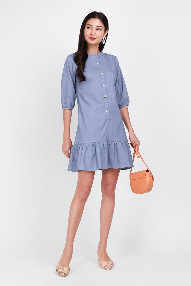 [BO] Morning Calls Dress In Denim Blue