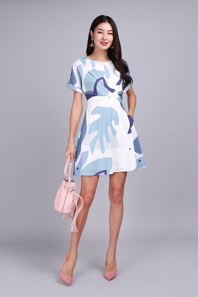 Twist Of Charm Dress In Blue Prints