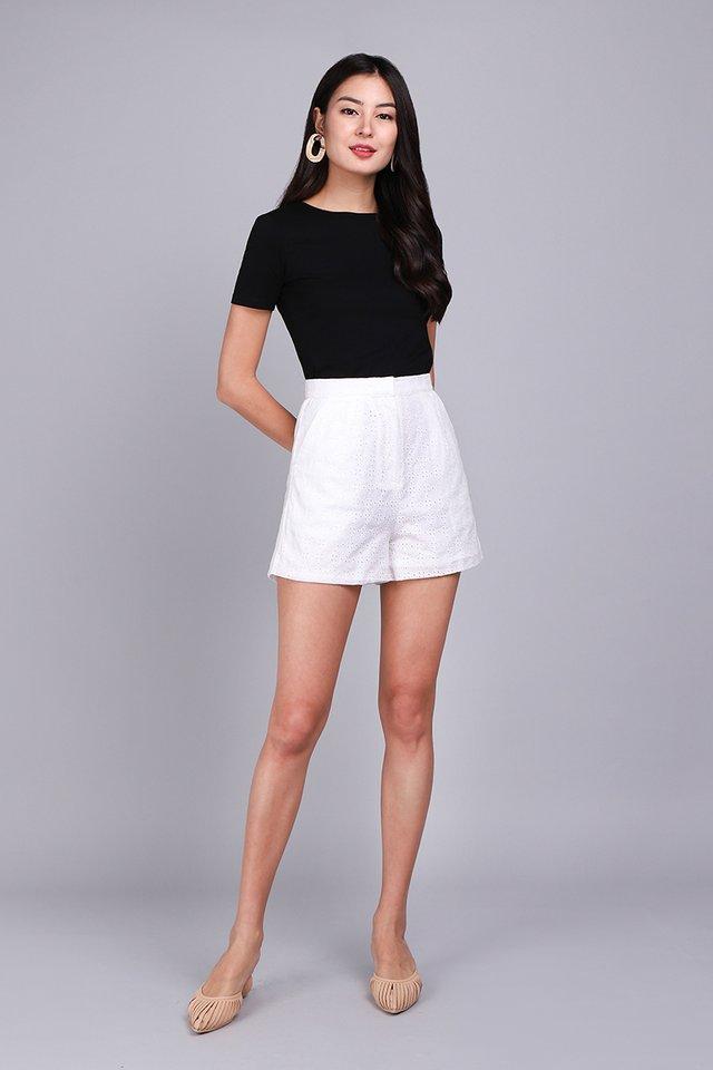 Quiet Serenade Shorts In White Eyelet