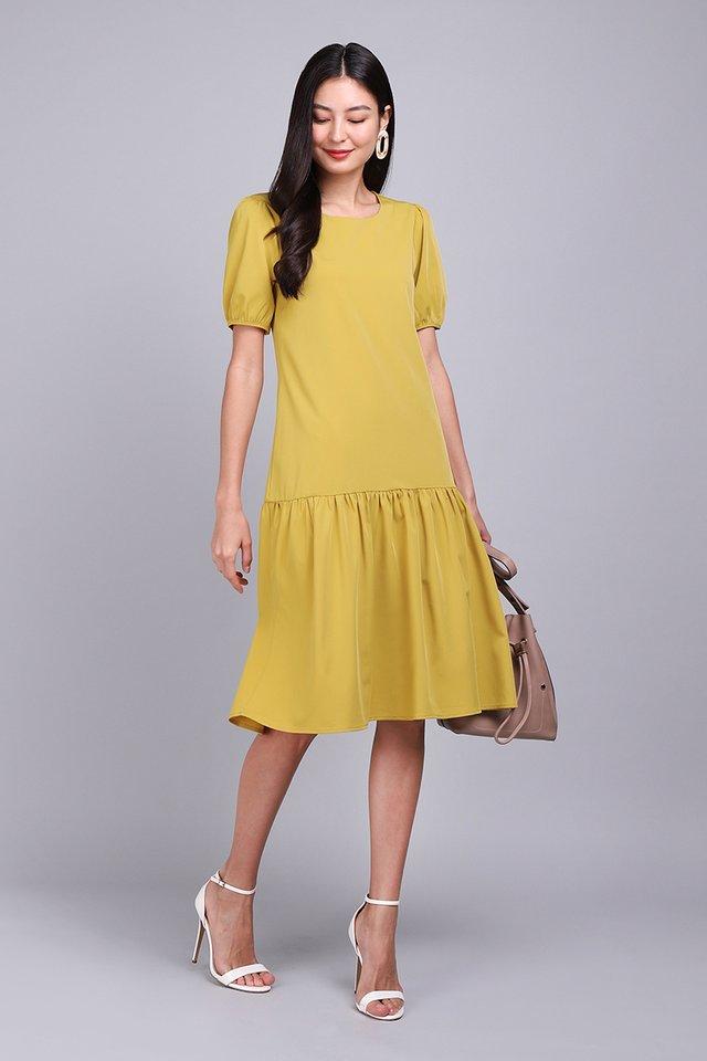 Colour Cascade Dress In Mustard Yellow