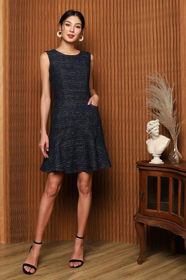 [BO] Spark Joy Dress In Blue Tweed