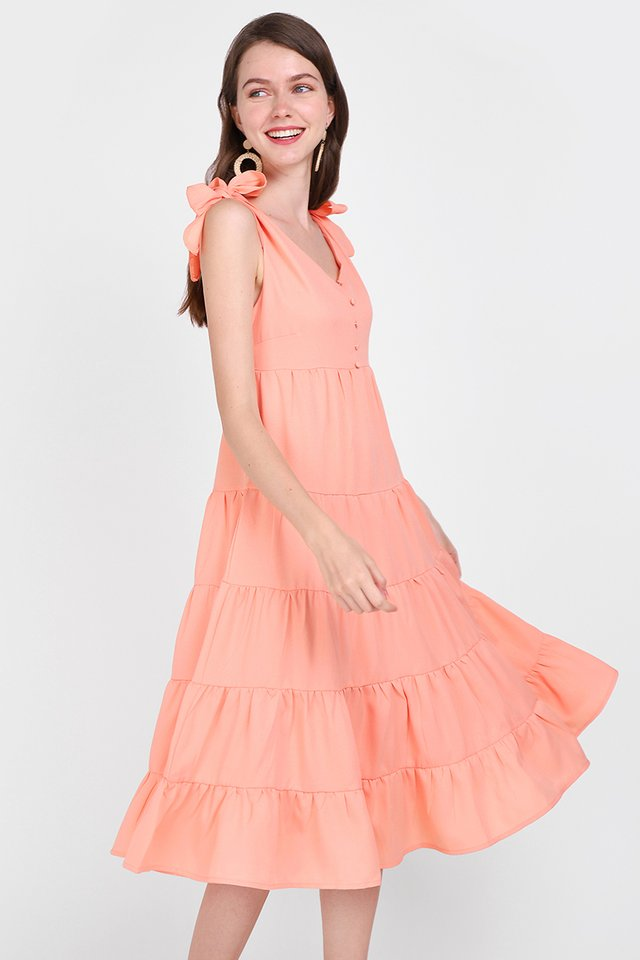Tiers Of Happiness Dress In Apricot