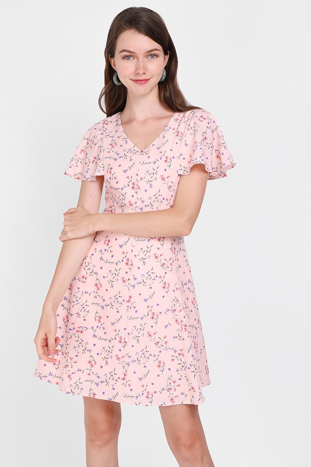 Summer Merriment Dress In Pink Florals