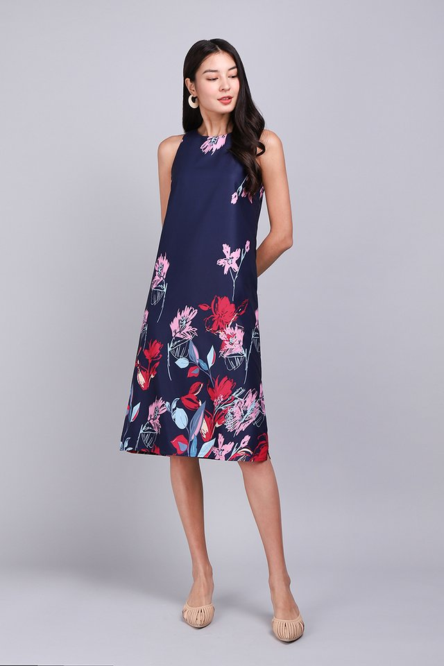 Pattern Party Dress In Blue Florals