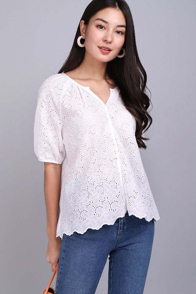 Lighthearted Mood Top In White Eyelet
