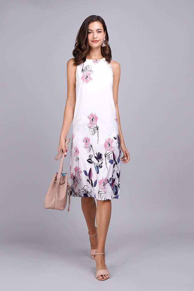 Pattern Party Dress In White Florals