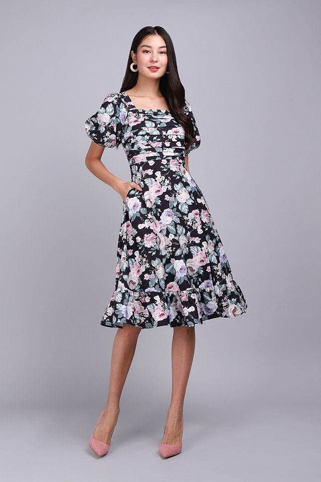 Sing A Song Of Spring Dress In Black Florals