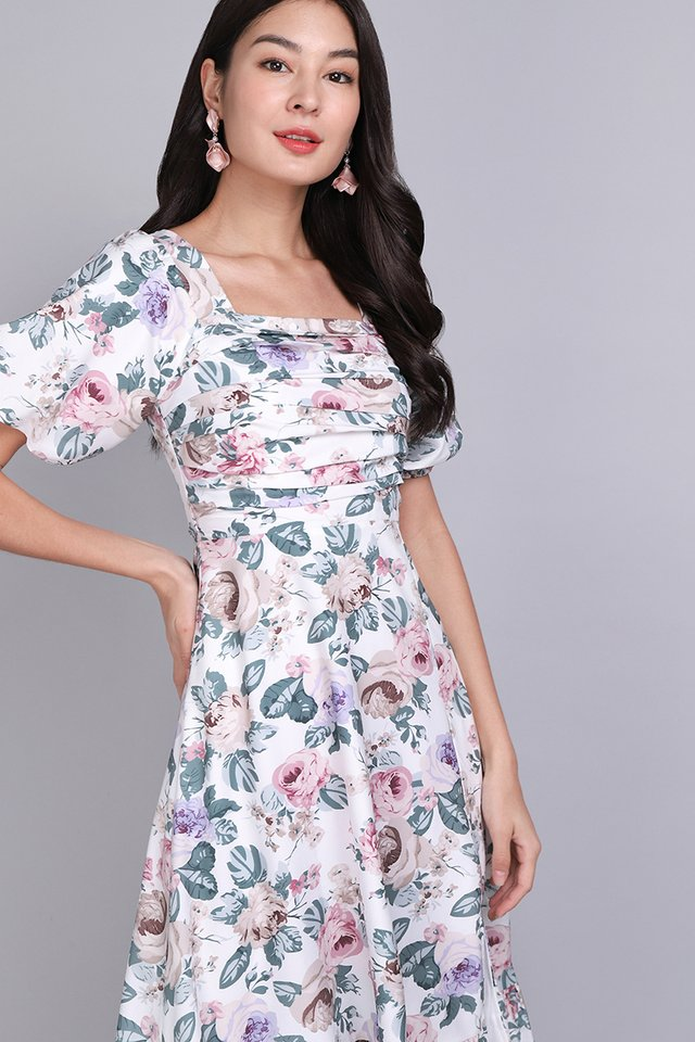 Sing A Song Of Spring Dress In White Florals