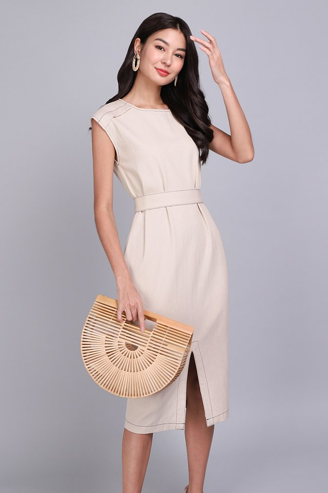 Big City Moment Dress In Ecru