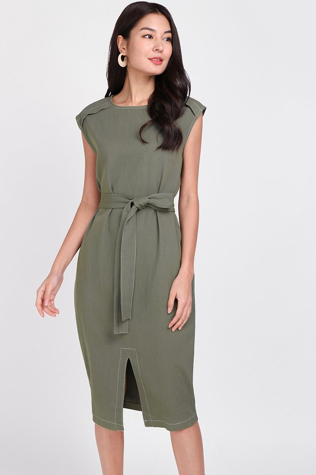 Big City Moment Dress In Olive Green