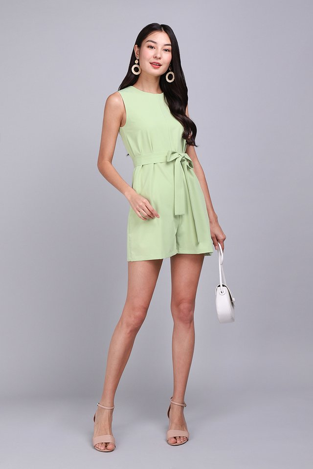 City Calling Romper In Apple Green