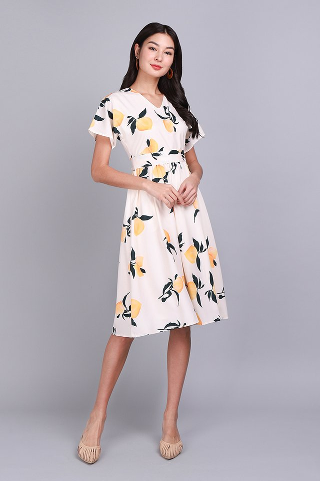 Burst Of Zest Dress In Yellow Prints