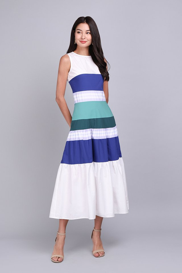 Darling Days Dress In Ocean Stripes