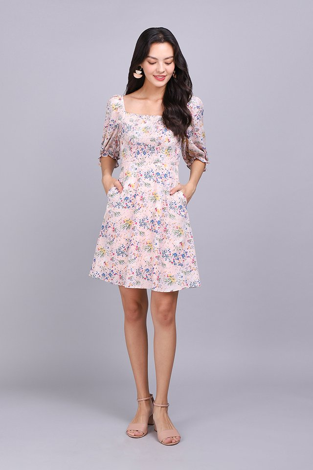 The Ethereal Beauty Dress In Pink Florals