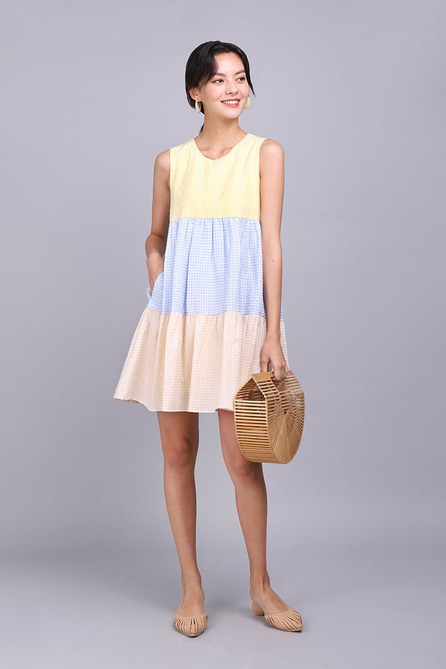 Colour Palette Dress In Yellow Gingham