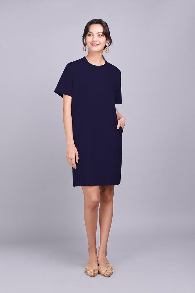 River Dress In Navy Blue