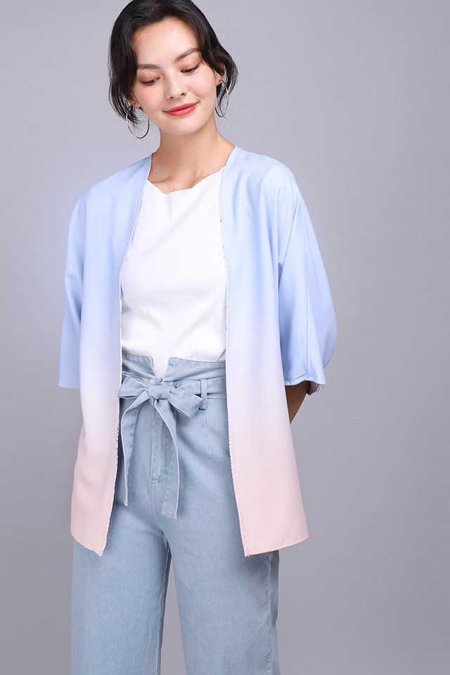 Blooming In Colours Kimono In Blue Pink