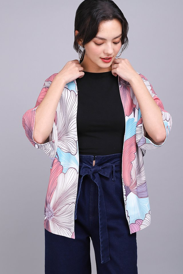 Blooming In Colours Kimono In Pink Sage