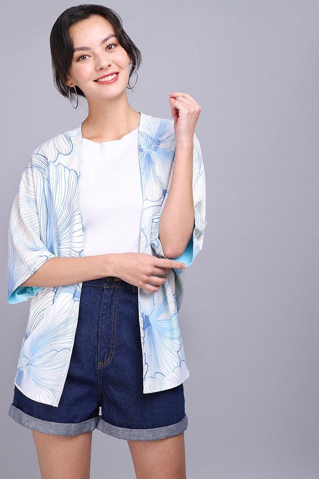Blooming In Colours Kimono In Sky White