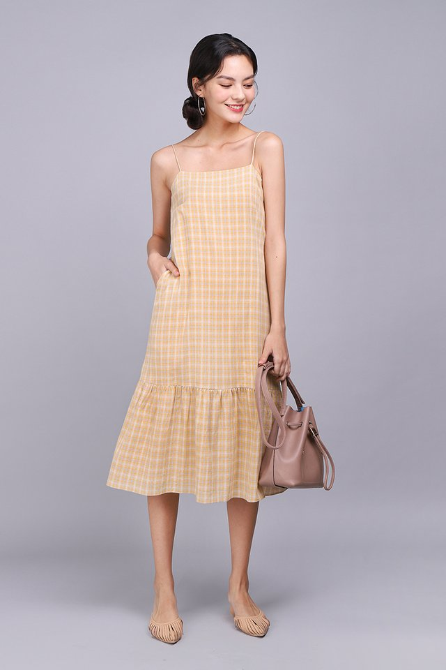 Set For Summer Dress In Yellow Checks
