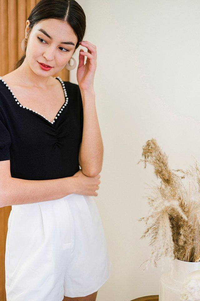 Pearls Adorned Top In Classic Black