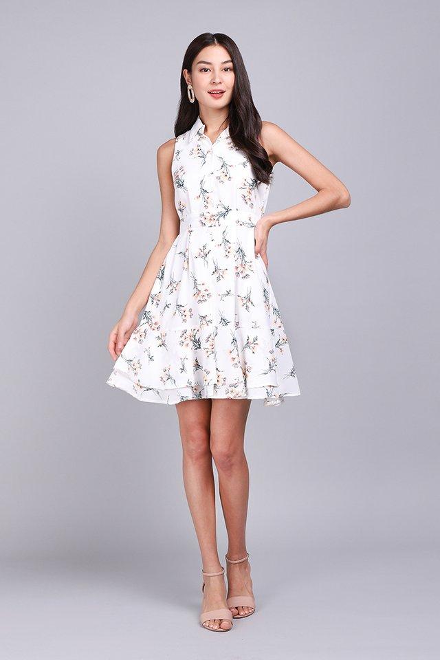 Floret Shenanigans Dress In White Bouquet