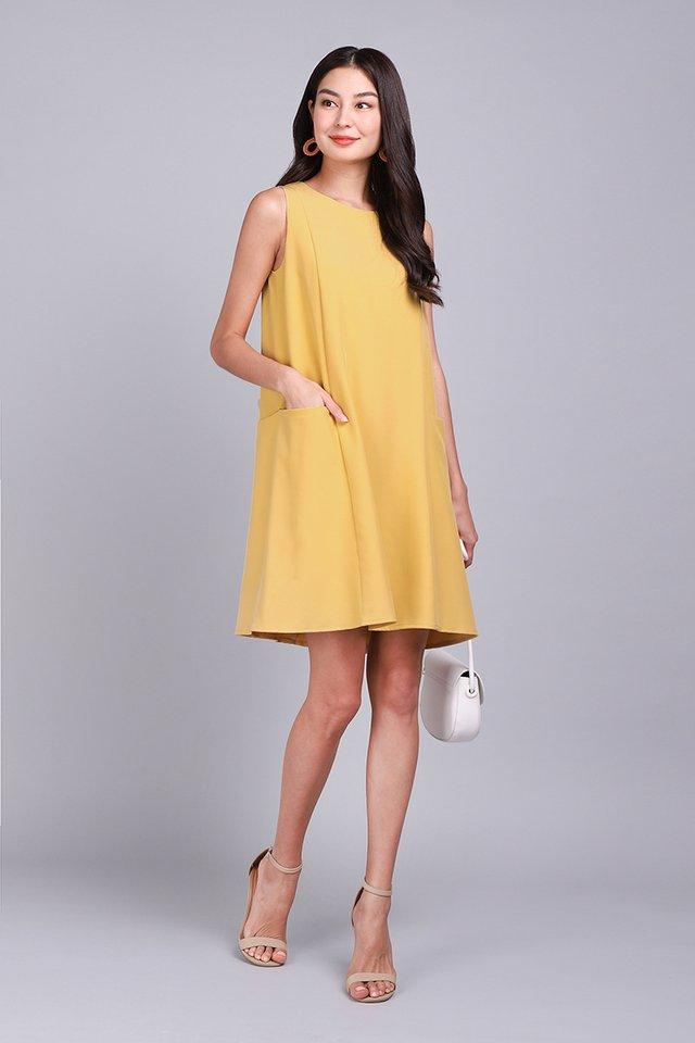 Sunshine Weather Dress In Mustard Yellow