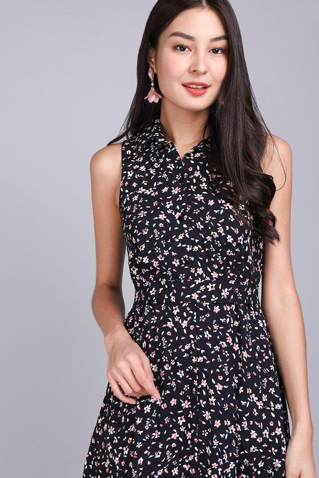 Floret Shenanigans Dress In Black Blooms