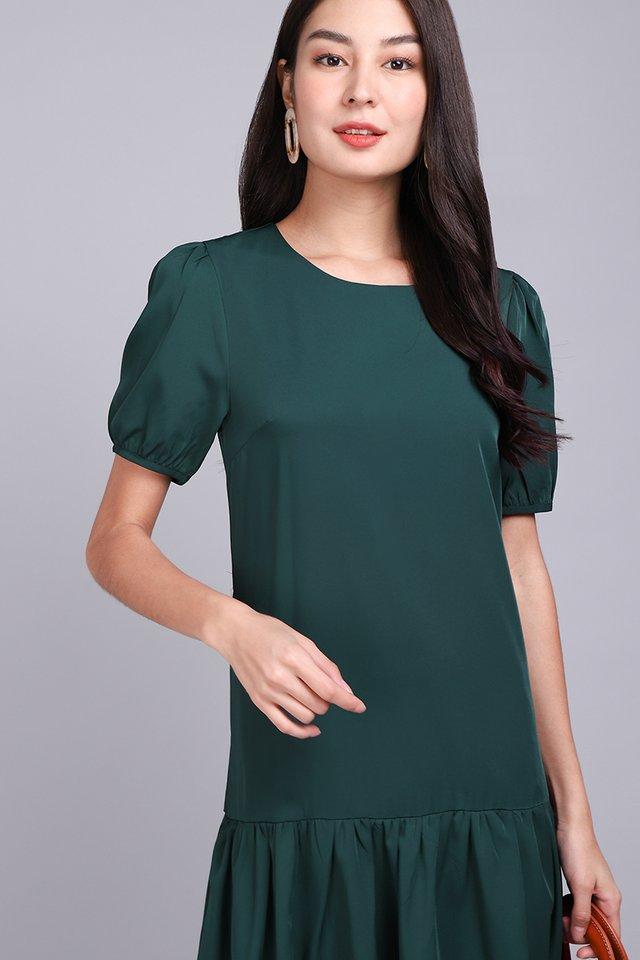 Colour Cascade Dress In Forest Green